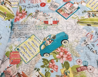 Bon Voyage Vintage Map Designer Curtain Upholstery Cotton Fabric-280cm extra wide