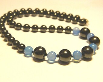Shungite necklace with blue agate beads.EMF protection Healing stone from Karelia