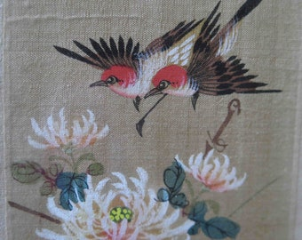 Delicate Picture-Vintage - Handmade- silk - Birds-Chrysanthemums-Vintage picture-