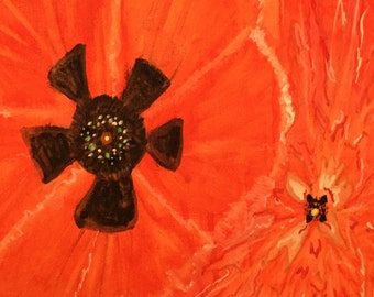 Original Abstract Watercolor Poppy Painting