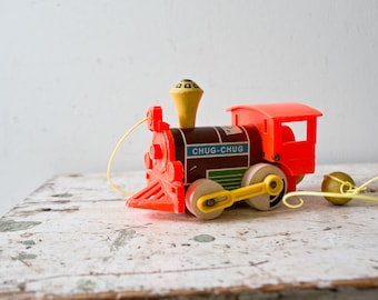 Fisher Price Vintage Train Chug Chug Train Pull String Along 1960s Kids Toy Toddler Toy