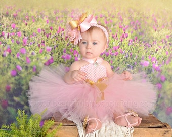 Pink and Gold Baby Tutu Dress and Hair Bow Set,Birthday Tutu Dress,Pink Birthday Dress,Infant Tutu,Toddler Dress,Pink and Gold 1st Birthday