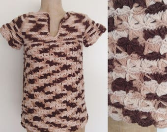 1970's Brown Knit Sweater Top Vintage Granny Chic Shirt Size Small by Maeberry Vintage