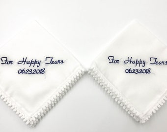 Set of 2 wedding white embroidered handkerchiefs, no ugly crying or for happy tears wedding handkerchief, embroidered wedding hanky gift