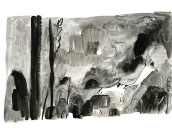 Original Faye Moorhouse Ink Illustration - Black Forest Beasts no. 1