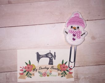 Pink Snowman Feltie Paperclip Bookmark/ Planner Accesories