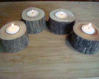 Four live edge redbud tea candle holders