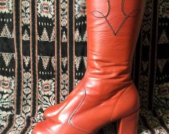 1970s orange tan boho boots