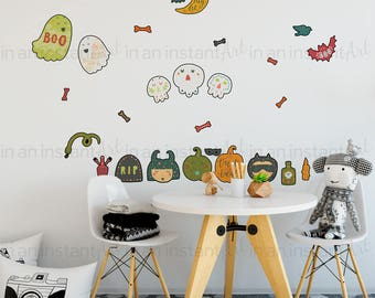 Halloween Wall Decor | Wall Decals for Halloween Decor or Fall Decorating Ideas | Peel and Stick Reusable and Removable | P1027