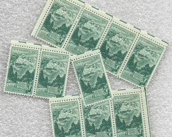 10 Green Mount Rushmore Unused US Postage Stamps 3 Cents 1952 Stamp #1011 Craft Supply or Mail Wedding Invitations South Dakota ~ 7530