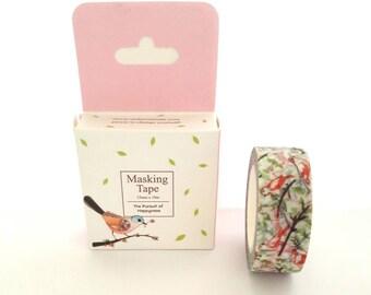 Washi tape, washi tape masking tape 15 mm x 10 m, pastel birds theme