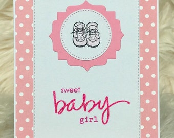 Baby girl card, its a girl, congratulations baby card, baby shower, new baby card