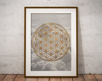 Sacred Geometry, Minimalist Geometric Wall Art, Gold, Cloud Print, Printable Poster, Digital Instant Download, #GeoCloudCollection Nº1