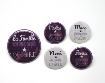 1 magnet 56 mm + 4 magnets 37mm personalized family Formidable plum and gray