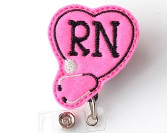 Registered Nurse Badge Clips - Cute Badge Reels - Unique Retractable ID Badge Holder - Felt Badge Reels - RN Nurse Badge Pulls - BadgeBlooms