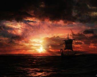 Viking Ship, Sunset, Seascape, Sky, Wall Art, Painting, Home decor, Fine Art print A3