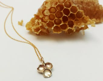 Honeycomb bronze and Gold Filled necklace, Honeycomb pendant, Beehive neckalce, Bee Jewelry, Nature Jewelry, Minimalist necklace