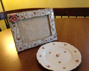 "Romantic Broken China Mosaic 5"" x 7"" Photo Frame created from vintage floral china"