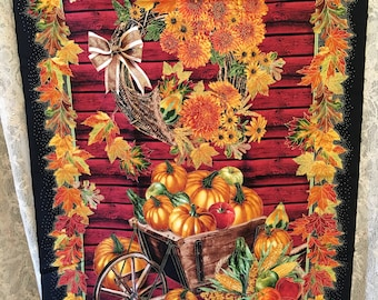 Vintage Fabric. Fall Harvest Panel. Brown, Red, Orange, Yellow and Green. Fall Leaves Around Wheel Barrow of Pumpkins. Fall Wall Hanging.