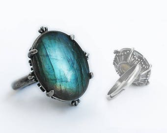 Labradorite Ring silver Labradorite engagement ring gemstone ring blue stone ring Adjustable solitaire ring gift for her