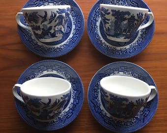 Churchill China Blue Teacup & Saucers