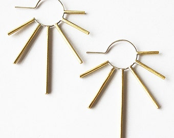 Edgy burst earring- two tone brass with silver, sterling silver or oxidized silver- dramatic sun star shape earring- lightweight unique hoop