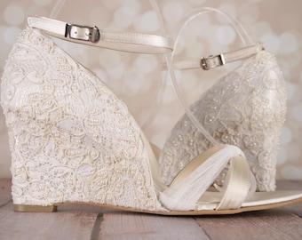 Ivory Wedding Shoes, Lace Wedding Wedges, Ivory Lace Wedges, Lace Wedding  Accessories, Custom Wedding Shoes, Ivory Lace, Wedge Wedding Shoes