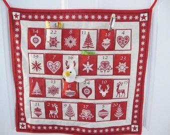 Scandinavian Christmas Advent Calender, Red and White Christmas, Fill your own advent, Holidays, Christmas Countdown, Heirloom Advent,
