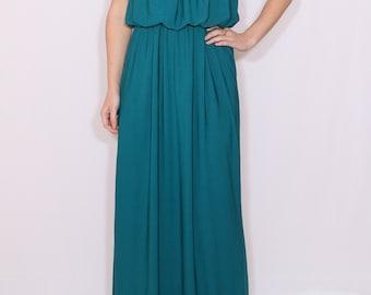 Bridesmaid dress teal blue Maxi dress  Boho dress Summer dress Prom dress Casual dress blue dress Spaghetti strap dress