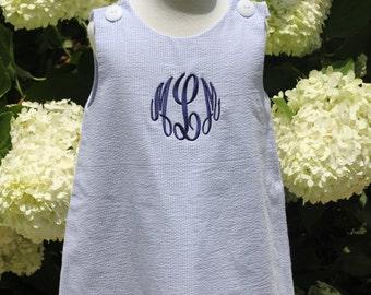 Blue Seersucker Jumper Dress, Monogram Included