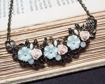 Pink and Blue Floral Bib Necklace