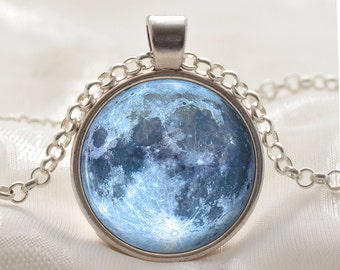 Moon Pendant - Blue Moon Jewelry - Moon Necklace - Space Gift for Women and Girls