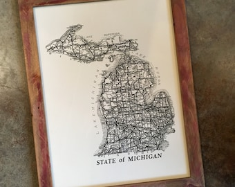 "Vintage Michigan Map 18"" x 24"" Silkscreened Print"
