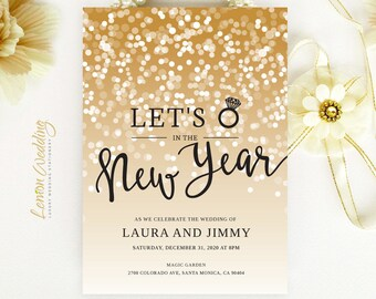 Sparkle New Year's Eve wedding invitations printed on white shimmer cardstock | Gold and black confetti wedding ivnitations