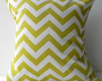 New 18x18 inch Designer Handmade Pillow Case in citron chevron pattern
