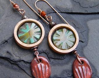 Handmade Bird's Eye Maple Rings, Czech Glass and Stoneware Dangle Earrings Boho Bohemian Gypsy