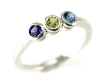 Sterling Mother's Ring - Three Stone Birthstone Ring - Active Mom 3 Gemstone Ring