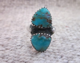 Delicate Native American Two Stone Ring