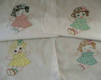 Lot Of Four Cute Vintage Partially Hand Embroidered Quilt Squares With Little Girls