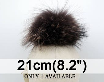 Large real raccoon fur pom pom, Coffee fur pompom,genuine fur pom pom, Ideal for knitted hats or beanie hat A02