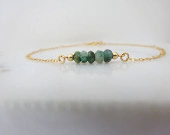 Emerald Birthstone bracelet, Dainty Beaded bar Bracelet, Gemstone Bracelet, may birthday jewelry gift