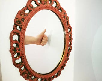Vintage Ornate Red & Gold Mirror
