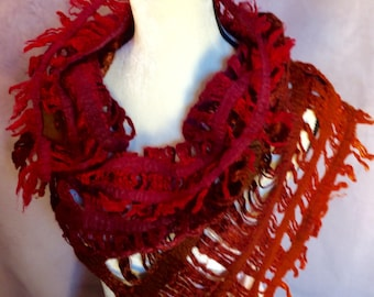 Fire Silk Fringe Felted Scarf