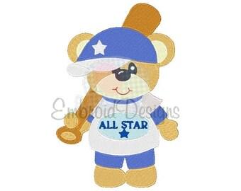 All Star Bear Machine Embroidery Design 050315 Baseball Design Filled Stitch 4X4 5X7 8X8 6X10 Instant download