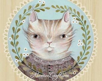"MarmeeCraft art print, ""A Summerling Cat, Miss Tabby"""
