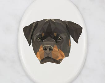 A ceramic tombstone plaque with a Rottweiler dog. Art-Dog geometric dog