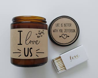 I Love Us Boyfriend Gift Holiday Gift Soy Candle Gift for Girlfriend Scented Candle Birthday Gift Christmas Gift for Him Gift for Her