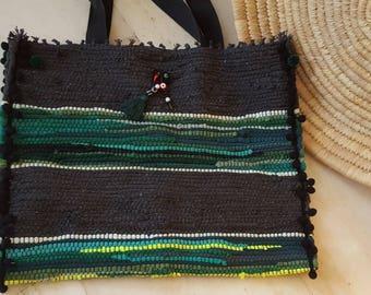Kourelou Bag, Kilim Bag, Boho Tote, Kourelou Tote, Pom Pom Bag, Ethnic Bag, Hippie Festival Bag, Bohemian Bag, Beige Tote, Easter Gift