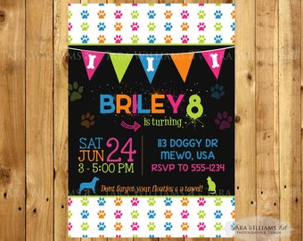 Neon Colors Dog/Cat Birthday Party Invitation - Pink - Blue - Orange - Green - Printable - Custom - You Print - Dogs - Cats - Paw Print