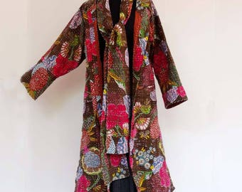Women's coat in cotton gaudri Brown exotic round collar and matching scarf